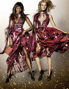 Naomi Campbell and Rosie Huntington-Whiteley in the Burberry Festive Campaign shot by Mario Testino