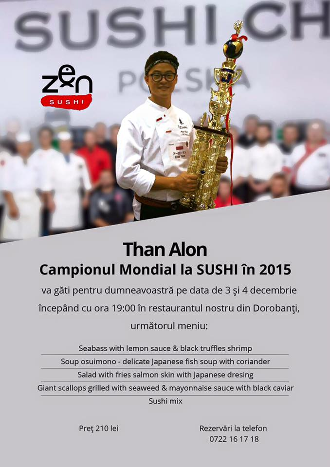 afis Zen Sushi Live Cooking cu Than Alon