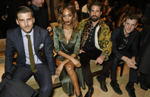 LONDON, ENGLAND - JANUARY 11:  (L to R) Johannes Huebl, Jourdan Dunn, Jack Guinness and George Barnett attend the Burberry Menswear January 2016 Show on January 11, 2016 in London, United Kingdom.    Pic Credit: Dave Benett