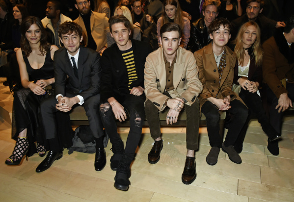 LONDON, ENGLAND - JANUARY 11:  (L to R) Amber Anderson, Josh Whitehouse, Brooklyn Beckham, Gabriel Day-Lewis, Alex Lawther and Josephine de La Baume attend the Burberry Menswear January 2016 Show on January 11, 2016 in London, United Kingdom.   Pic Credit: Dave Benett