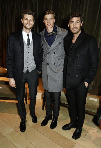 LONDON, ENGLAND - JANUARY 11:  Jim Chapman, Toby Huntington Whiteley and Robert Konjic attend the Burberry Menswear January 2016 Show on January 11, 2016 in London, United Kingdom.   Pic Credit: Dave Benett